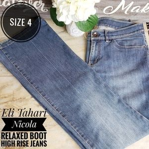 Eli Tahari Nicola Relaxed Boot High Rise Jeans
